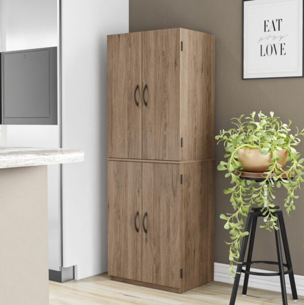 KITCHEN CABINET Cupboard Pantry Storage Organizer Wood Tall Shelves Rustic Brown
