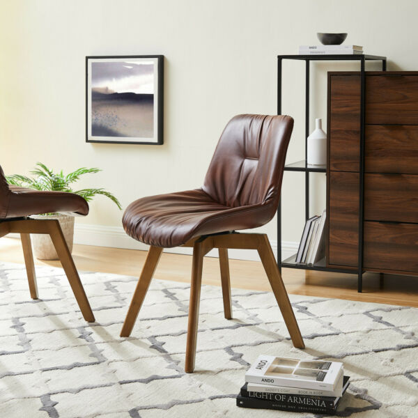 2 Pc Mid Century Swivel Accent Dining Chair for Living Room Bedroom Kitchen