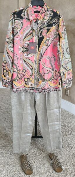 NWT ETRO $540 50IT 14US Cotton Pink Green Paisley Straight Fit Long Sleeve Shirt $245.00