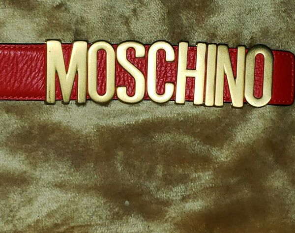 Moschino Logo Leather Belt Red Gold Buckle $185.00