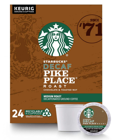 Starbucks Pike Place Decaf Coffee K Cups 96 Pieces Best By 08 20