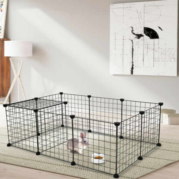 Portable 12 Panels Tall Dog Playpen Large Crate Fence Pet Play Pen Exercise Cage
