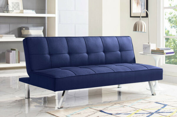 SOFA BED SLEEPER 3 Seat Blue Tufted Fabric Chrome Convertible Couch Futon