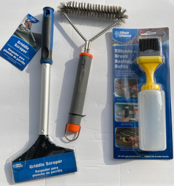 3 pc BBQ Grill Set 16quot; Griddle Scraper Grill Brush Basting Bottle With Brush