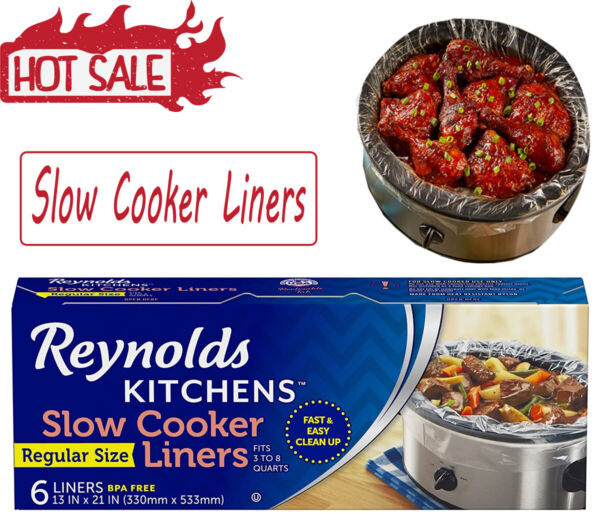 Slow Cooker Liners Kitchen Chef Recipes Crock Pot Cook Liner Bags BPA Free 13x21