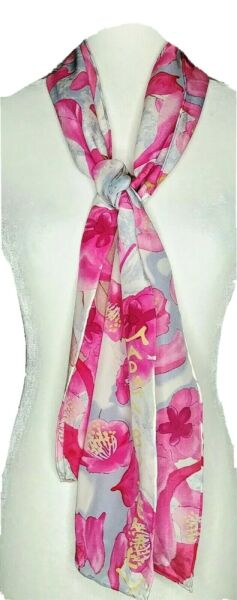 100% Silk Scarf Madame Butterfly Pink Designed Exclusively Metropolitan Opera