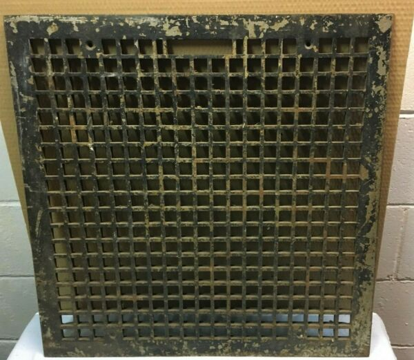 VINTAGE CAST IRON FLOOR GRATE FURNACE COLD AIR RETURN VENT 22quot; BY 22quot; OPENING