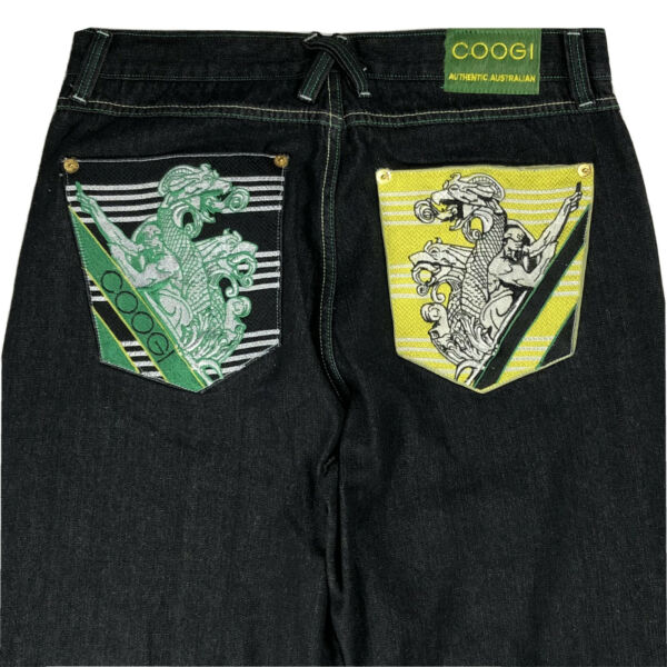 New $140 COOGI Black Baggy Jeans Hip Hip Embroidered Dragon Size 38 36 x 33 $80.95