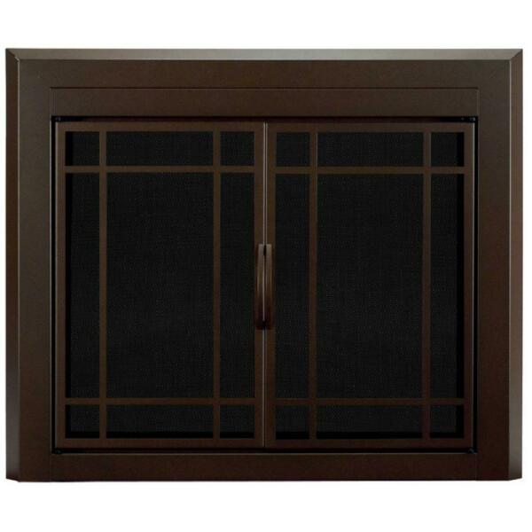 Fireplace Doors 3 16 in. Smoked Tempered Glass Large Cabinet Style Surface Mount