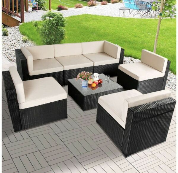 7 Piece Outdoor Patio Sectional Furniture Set W Tea Table