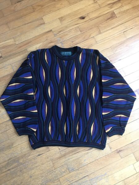 VTG Tundra Men#x27;s M Multi Colored Colorful Biggie Style Coogi Sweater Cosby $149.99