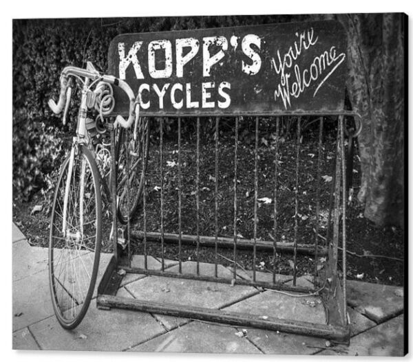 Bike At Kopp#x27;s Cycles Shop In Princeton 30quot;x40quot; Canvas Print $351.00