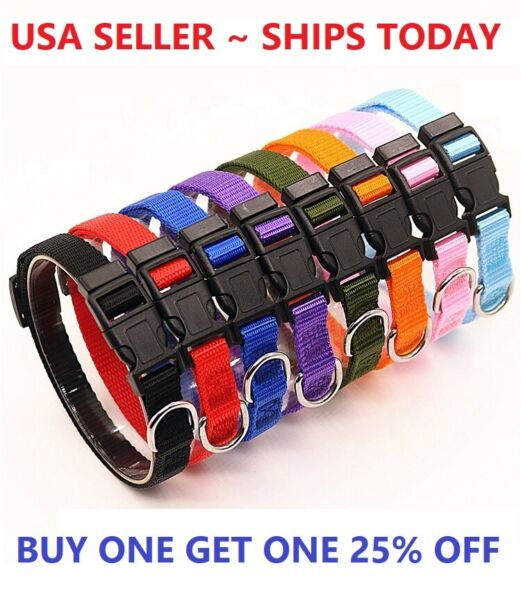 Dog Pet Adjustable Nylon Collar Small Medium Large XL With Buckle Puppy $5.98