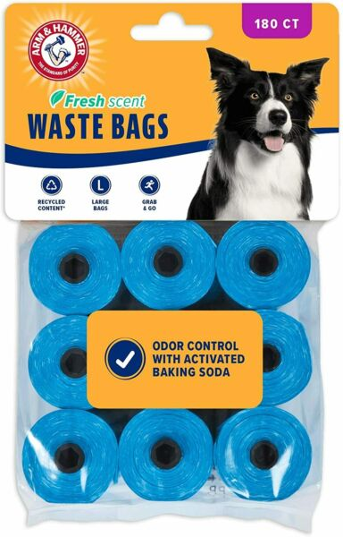 Arm amp; Hammer Disposable Dog Waste Bag Refills Blue 180 Count Home Storage Trash $19.95