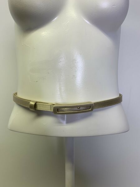 St. John Belt Gold Leather Band Fabric Rectangle Square Buckle Sz 4 .25quot; x 35.5quot;