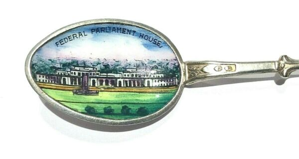 old FEDERAL PARLIAMENT HOUSE enamel souvenir teaspoon CANBERRA Coat of Arms