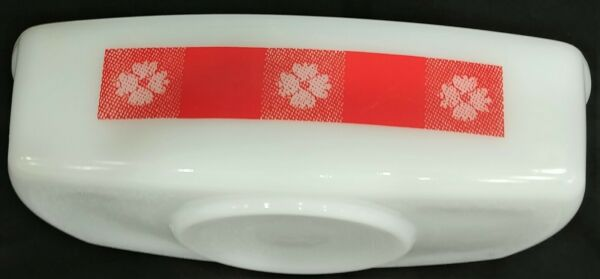 Vintage Federal Milk Glass Red Gingham Flower Rectangle Pan Casserole Dish