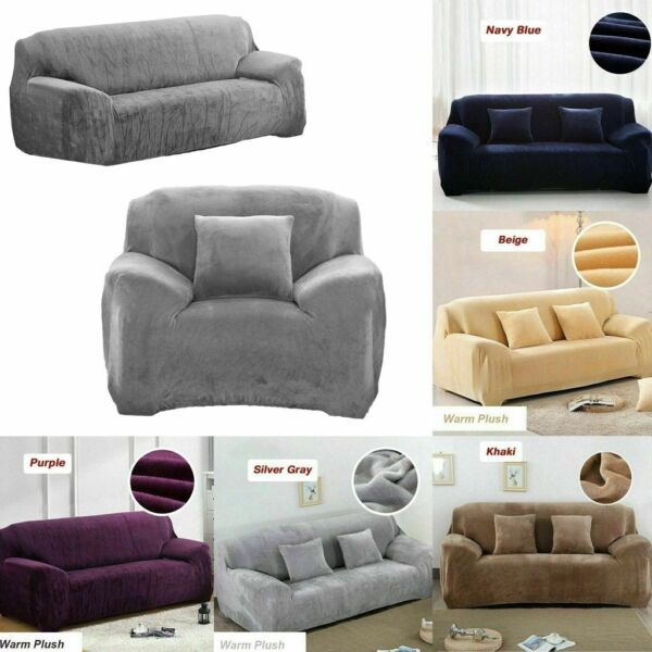 Sofa Cover Stretch Seat Couch Covers Velvet Funiture Slipcovers 1 2 3 4 Seat US $25.10