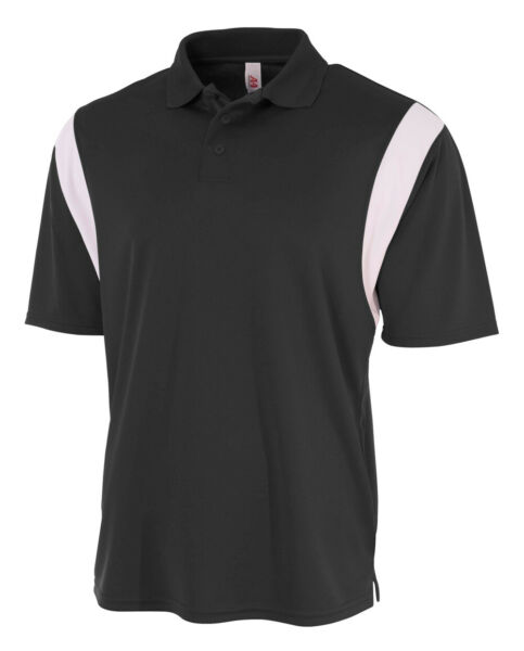 A4 Mens 100% Polyester Color Blocked Performance Polo With Knit Collar