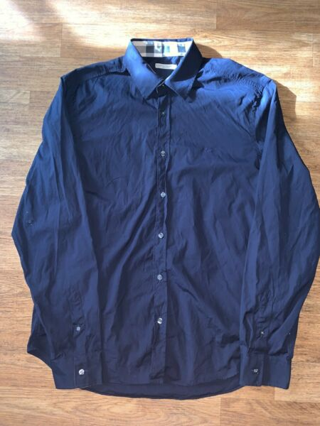 Burberry Men's Navy Button Down Shirt Size XL $59.99