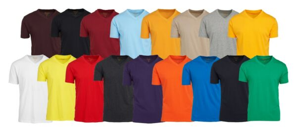 Men#x27;s V Neck T Shirts 100% Cotton Premium Heavy Weight Short Sleeve Solid Colors $8.36