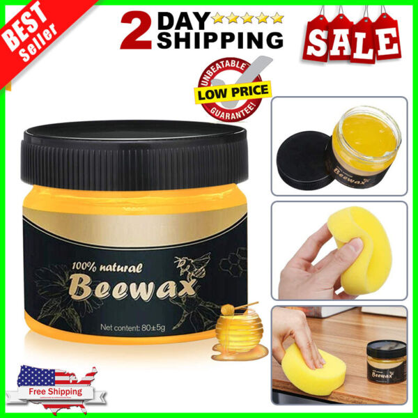 Natural Wood Seasoning Beewax Polish for Furniture Floor Protectantamp;Cleaner 80g $9.82