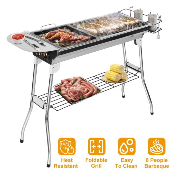 Portable Folding Charcoal BBQ Grill Stainless Steel For Picnic Camping Outdoor