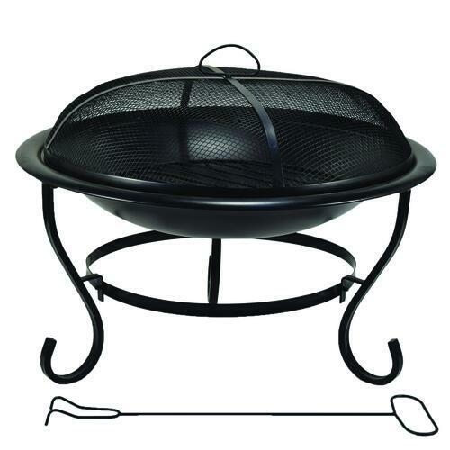 23quot; Steel Black Mesh Guard Wood Grate Poker Round Fire Pit Outdoor Yard Warmer
