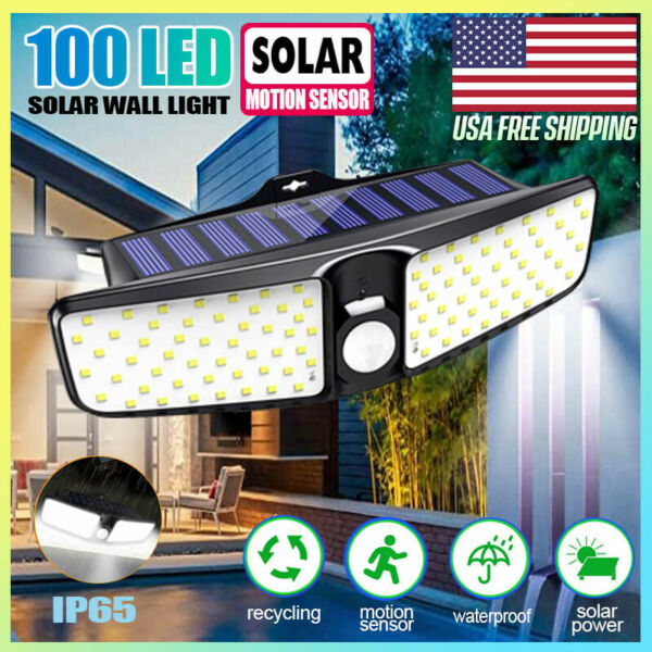 Solar Flood Light Dual Security Detector Motion Sensor Outdoor LED Wall Light $16.88