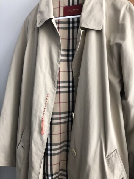VINTAGE BURBERRY TRENCH COAT LONG BEIGE RAINCOAT MADE IN ENGLAND Sz 46 $77.50