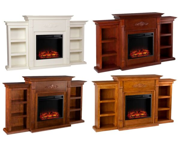 Electric Fireplace Heater with LED Logs Wood Mantel Bookshelf Remote Control