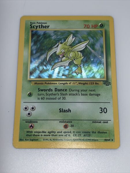 Scyther 10 64 Holo Rare Jungle Set WOTC Pokemon Card $23.00