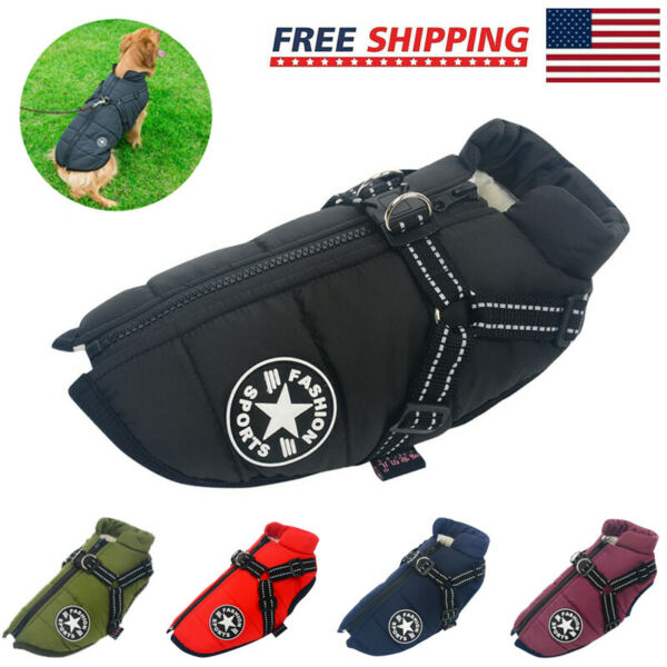 Pet Supplies Dog Clothing Cotton padded Windproof Warm Reflective Puppy Coat US $19.99
