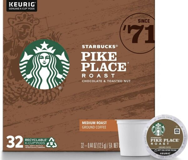 Starbucks Coffee k cups Keurig Pike Place Roast 32 count. Fast Ship