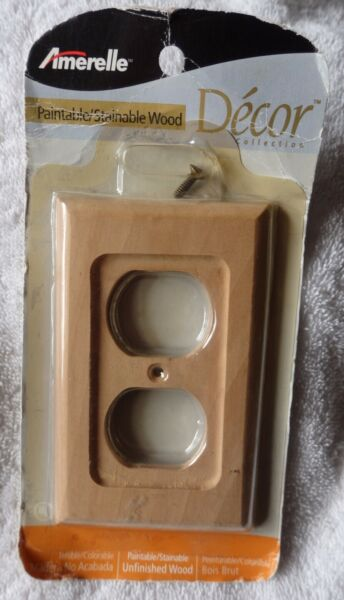 Amerelle Paintable Stainable D'ecor Unfinished Wood Switch Outlet Plate C182D $7.90