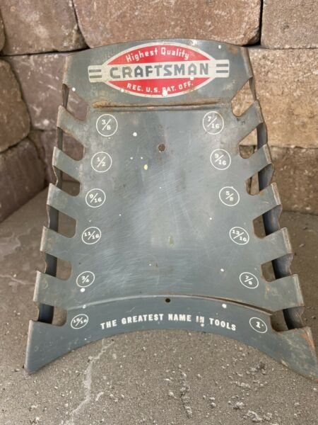 VINTAGE 1960#x27;s SEARS CRAFTSMAN METAL OPEN END WRENCH TOOL HOLDER