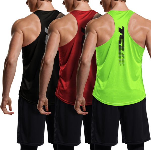 TSLA 3 Pack Men#x27;s Y Back Muscle Workout Tank Tops Athletic Gym Tank Top