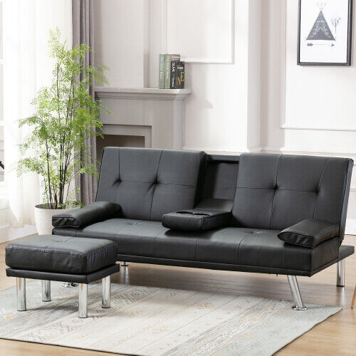 Sofa Bed Leather Fold Up amp; Down Recliner Couch with Cup Holder Footstool Modern