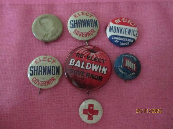 Vintage amp; older Button Pins mostly Political from Connecticut CT $3.99