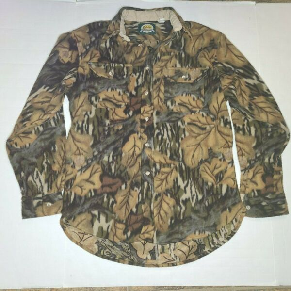 Cabelas Camouflage Fleece Shirt Mens Size Large Hunting Camo MADE IN USA