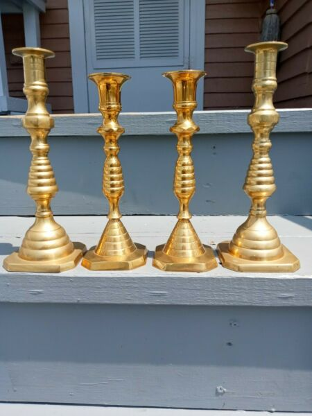Antique Brass Candlesticks quot;Beehivesquot; Vintage Candle Holders *Beautiful*