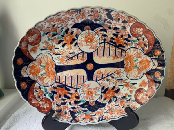 19th Century Antique Japanese Imari Scalloped Oval Deep Large Platter