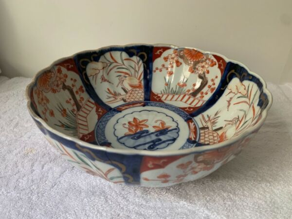 19th C. Antique Japanese Imari Hand Painted Scalloped Edge Large Porcelain Bowl