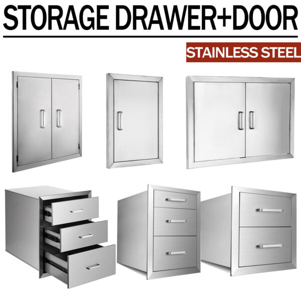 BBQ Double Single Doors Drawer Outdoor Kitchen Stainless Steel Access USA