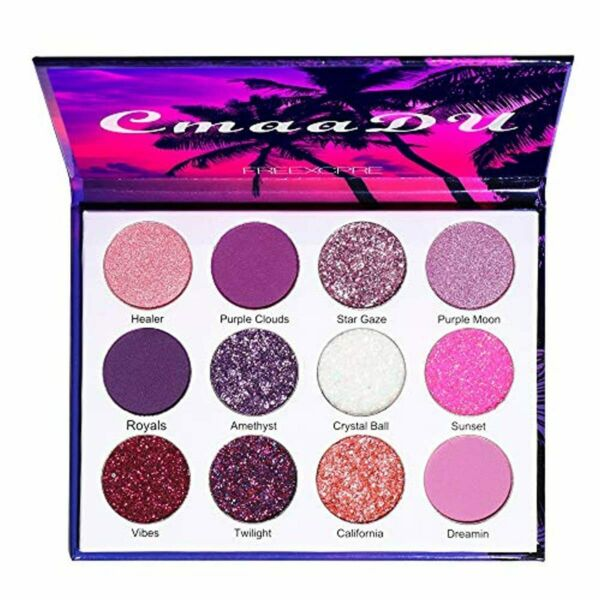 12 Colors Bright Glitter Eyeshadow Palette Natural High Pigmented Purple Pink $13.00