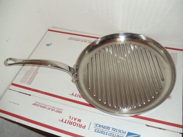 """KitchenAid 12"""" Round Grill Pan Stainless Steel Low Wall Griddle Skillet Rare"""