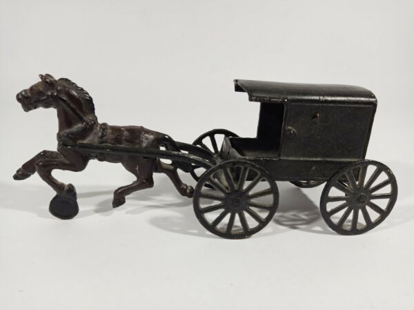 Antique Cast Iron Horse And Carriage