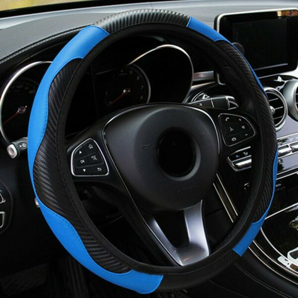 CAR STEERING WHEEL COVER CARBON PROTECTOR GLOVE UNIVERSAL LEATHER SKIDPROOF C $14.02