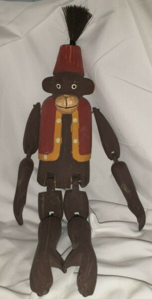 """Monkey Fez Hat Wooden Hand Carved Bellboy Shelf Sitter Jointed 18.5"""" Overall"""