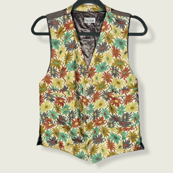 Paul Smith Pastel Embroidered Brocade Daisy Floral Vest Size Medium